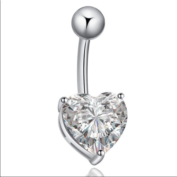 Heart Bling Belly Button Ring Nwt